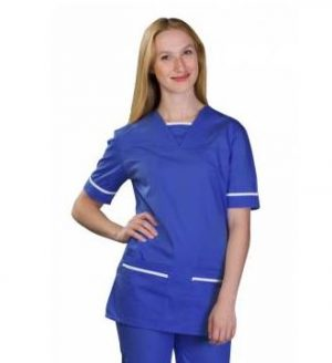 Key-Trimmed-Scrubs-Top-534TU-Royal-Blue